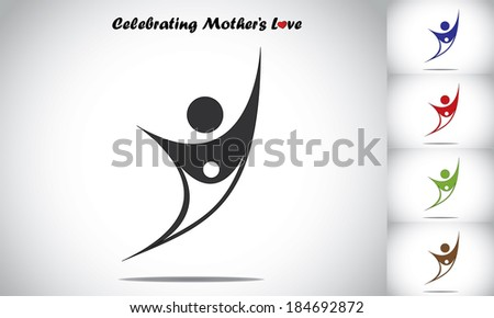 mother or father and child or baby hands up celebrating together - stock vector