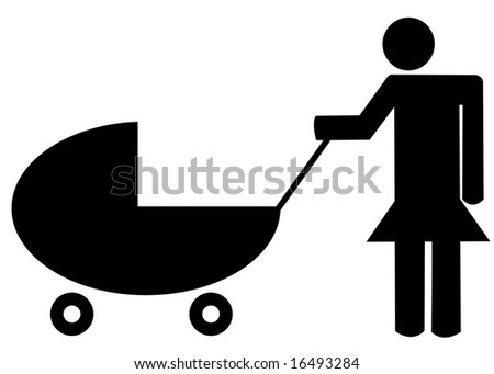 mother pushing baby buggy or stroller - illustration - stock vector