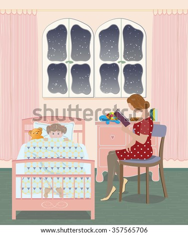 Mother reading a bedtime story to her daughter - stock vector
