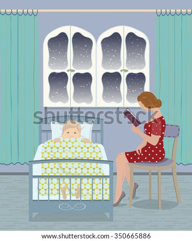 Mother reading a bedtime story to her son - stock vector