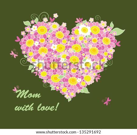 Mother's Day congratulation card - stock vector