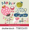 mother's day greeting card - stock vector