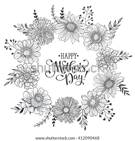 Mothers Day Greeting Card Template Happy Stock Vector
