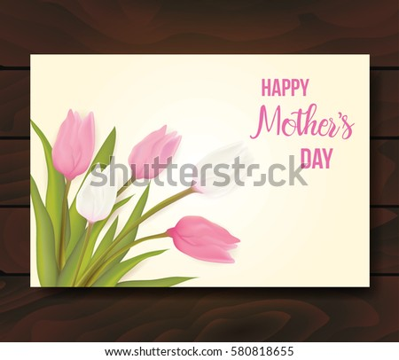 Mothers day greeting card tulip flowers stock vector 580818655 mothers day greeting card with tulip flowers with typography greeting message vector illustration m4hsunfo