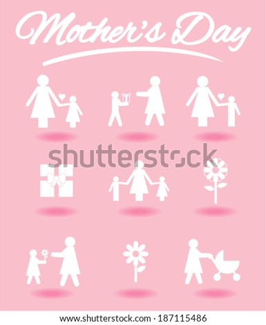 mother's day icons set - stock vector