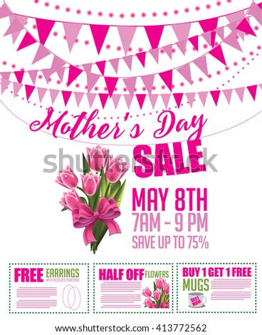 Mother's Day sale bunting and coupon marketing template. EPS 10 vector. - stock vector