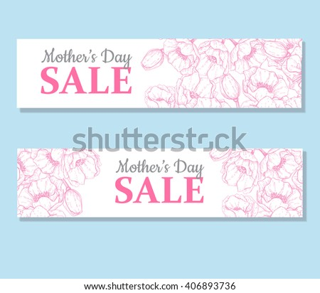 Mother's day sale illustration. Detailed flower drawing. Great banner, flyer, poster, brochure for your business holiday discount - stock vector