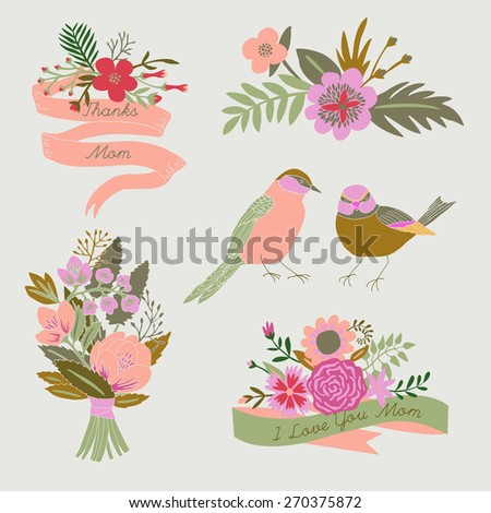 Mother's Day Set  - stock vector