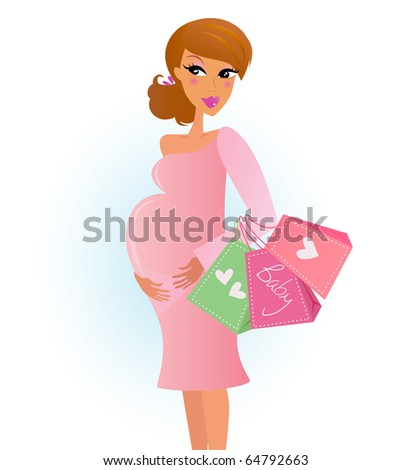 Mother shopping - pregnant woman with shopping bags isolated on white. Vector Illustration.