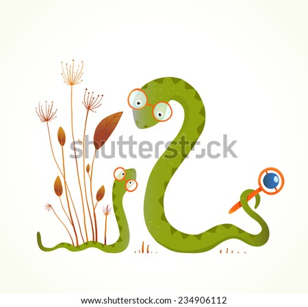 Mother Snail with Rattle and Baby Childish Animal Illustration. Hand drawn watercolor style illustration of rattlesnakes. Vector illustration EPS10. - stock vector