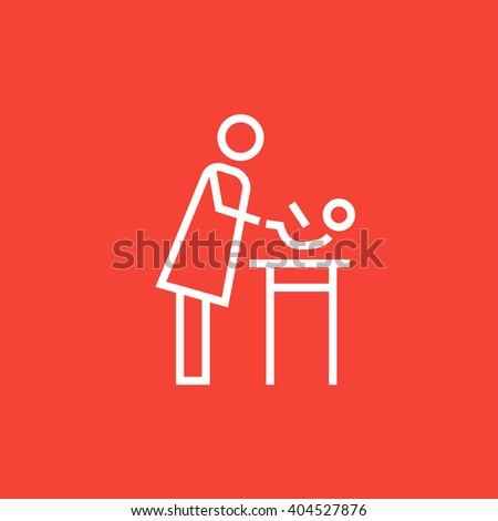 Mother taking care of baby line icon. - stock vector