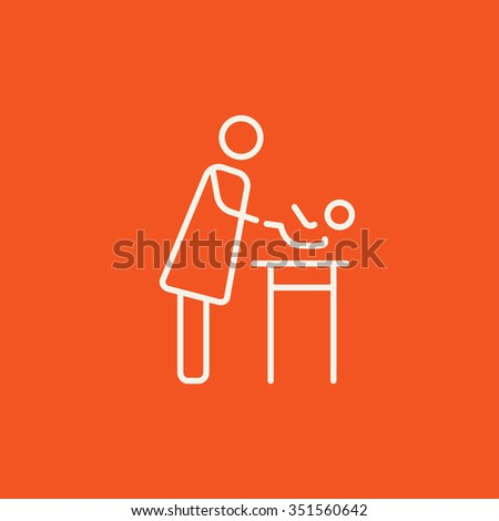 Mother taking care of the baby line icon for web, mobile and infographics. Vector white icon isolated on red background. - stock vector