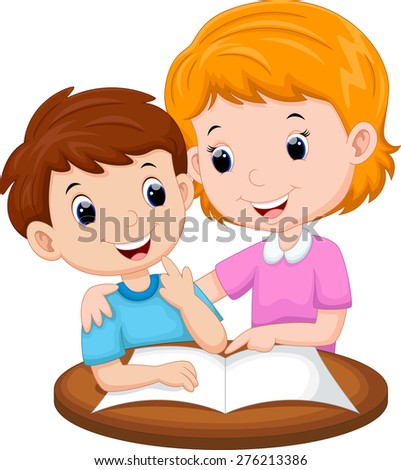 Mother teaching her child - stock vector