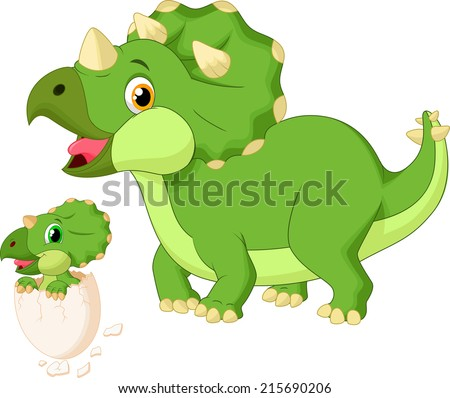 Mother triceratops with baby hatching  - stock vector