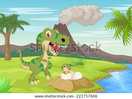 Mother tyrannosaurus with baby hatching - stock vector