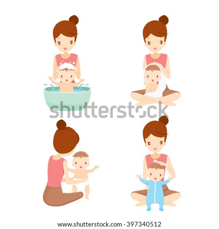 Mother Washing Baby Set, Mother, Baby, Bathing, Washing, Mother's Day - stock vector