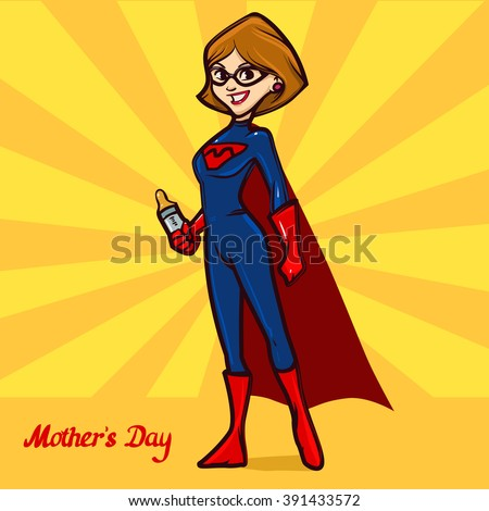 mother with baby bottle, for your design Mother's day greeting card, cartoon character, Super Mom hero, color vector illustration - stock vector