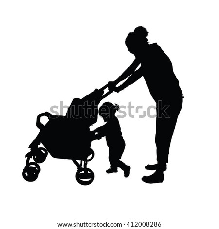 mother with baby pushing carriage silhouette on white - stock vector