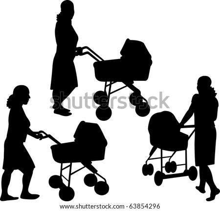 Mother with baby strollers silhouettes - stock vector
