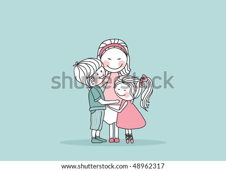 mother with children - stock vector