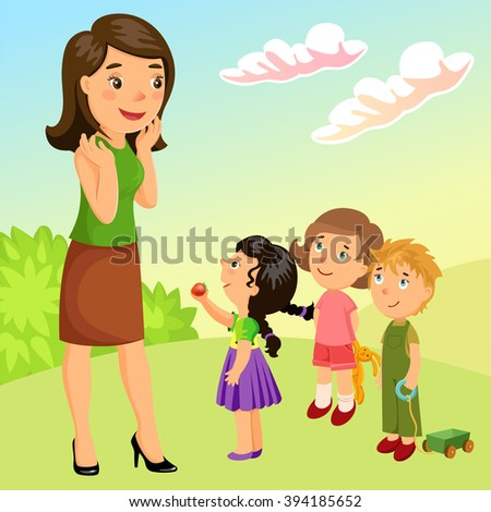 mother with children on the walk. - stock vector