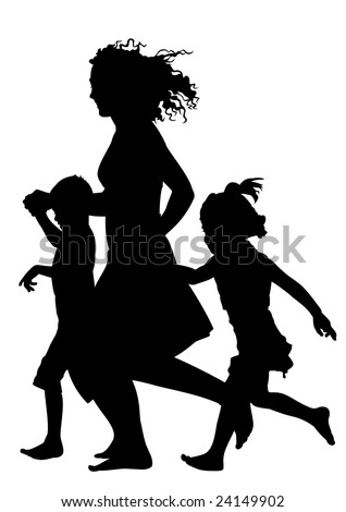 Mother with children running silhouette vector - stock vector