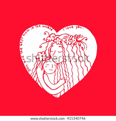 Mother with daughter. Card for Mother's Day. Bright line illustration with lettering.  Hand drawn postcard with mother and daughter hugging. - stock vector