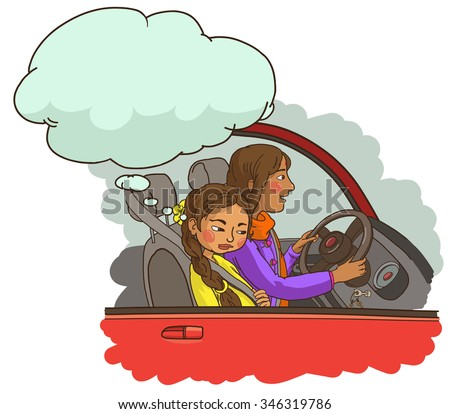 Mother with Daughter in the car. Indian family. Isolated objects. Great illustration for a school books and more. VECTOR. Editorial. Education. Advertising. Board. - stock vector