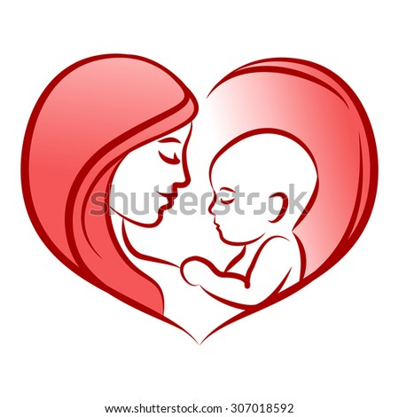 Mother with her baby, silhouette, mother's day, baby care icon