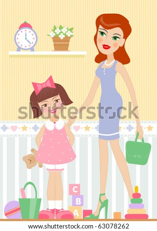 mother with her daughter - stock vector