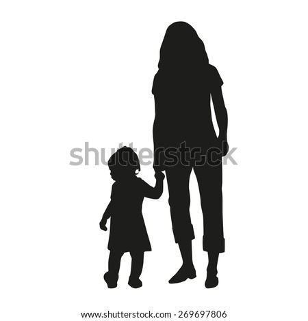 Mother with her daughter for a walk - stock vector