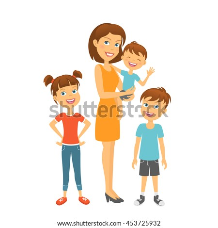 Mother with kids. Happy family. Mother and children