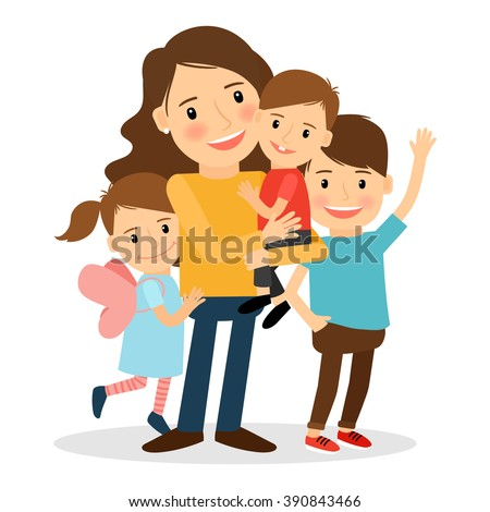 Mother with kids. Happy family together. Parenting and child care vector illustration - stock vector