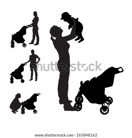 Mother with pram Silhouette Vector Illustration - stock vector