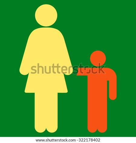 Mother With Son vector icon. Style is bicolor flat symbol, orange and yellow colors, rounded angles, green background.