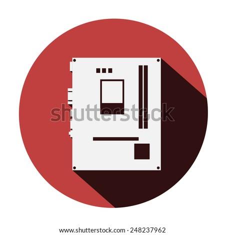motherboard icon long shadow - vector - stock vector