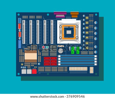 Motherboard in vector on blue background - stock vector