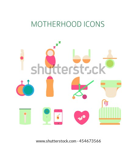 Breastfeeding Icons Set Flat Style Vector Stock Vector ...