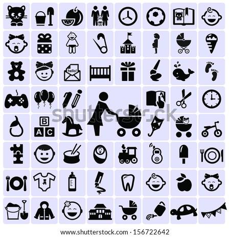 Motherhood and childhood symbols icons - stock vector