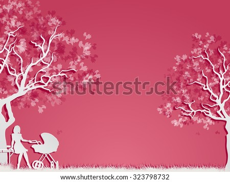 Motherhood and childhood. Woman with perambulator in the park. Vector, EPS 10 - stock vector