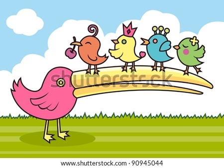 Mothers and children - stock vector
