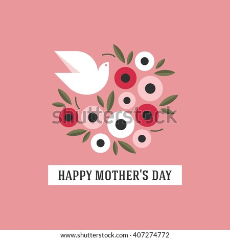 Mothers day card in pink with dove and flowers - stock vector