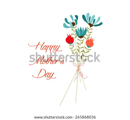 mothers day Cute bouquet of flowers on white background - stock vector
