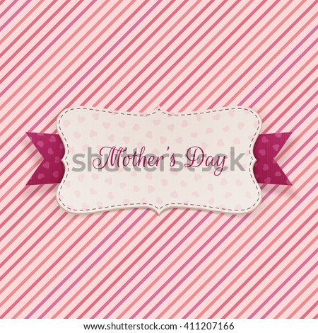Mothers Day Holiday Banner with festive Ribbon