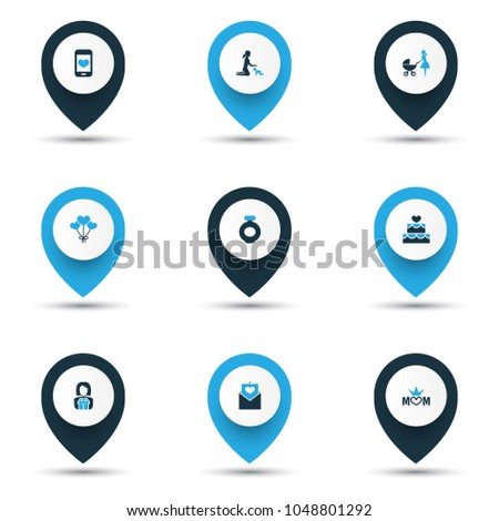 Mothers Day Colorful Icon Design Concept Stock Vector 739704601