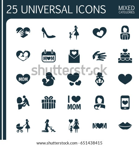 Mothers Day Icon Design Concept Set Stock Vector 651438415