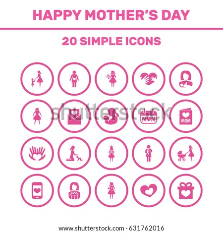 Mothers Day Icon Design Concept Set Stock Vector 631765115