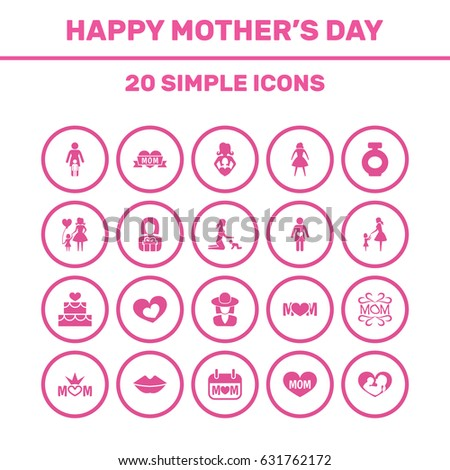 Mothers Day Icon Design Concept Set Stock Vector 631766591