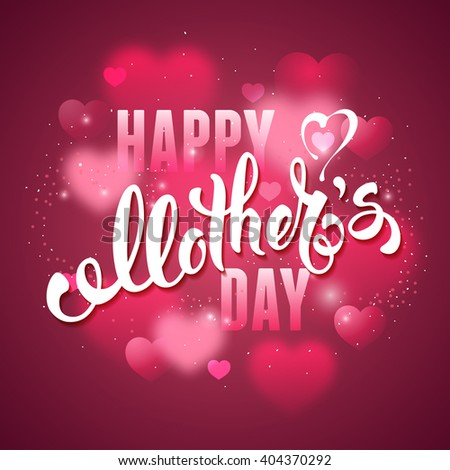 Mothers Day Lettering Calligraphic Design on Red Background With Hearts. Happy Mothers Day Inscription. Vector Illustration For Greeting Card and Other Print Templates. - stock vector