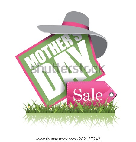 Mothers Day sale icon EPS 10 vector illustration for greeting card, ad, promotion, poster, flier, blog, article, social media, marketing, flyer, web page, signage - stock vector